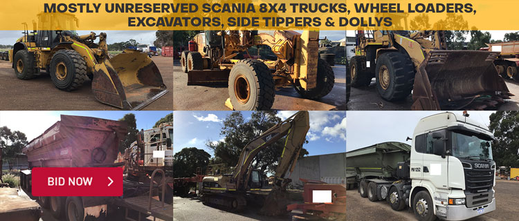 Mostly Unreserved Scania 8x4 Trucks, Wheel Loaders, Excavators, Side Tippers & Dollys