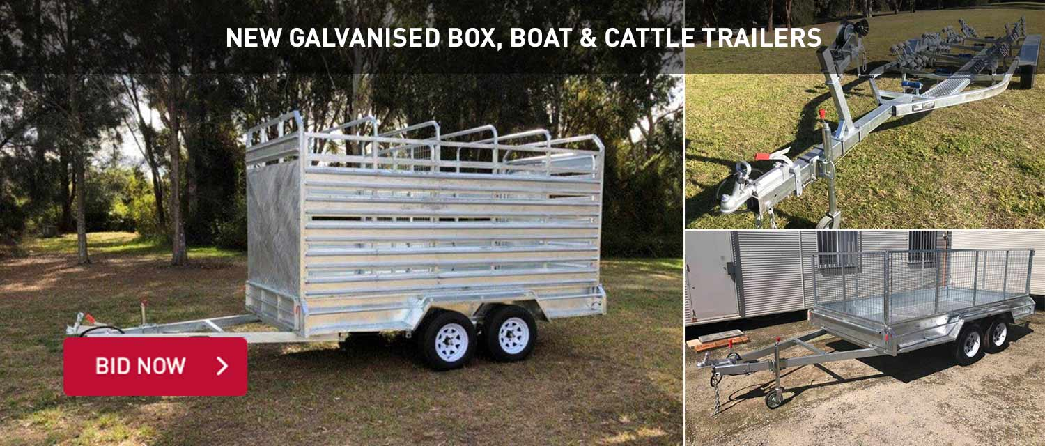 New Galvanised Box, Boat and Cattle Trailers