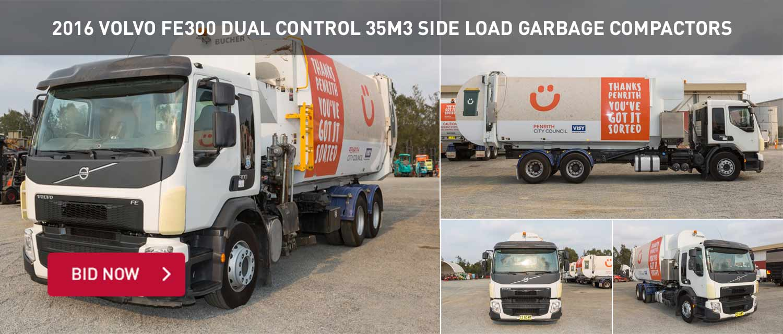 2016 Volvo FE300 Dual Control 35M3 Side Load Garbage Compactors