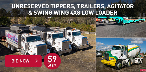 Unreserved Tippers, Trailers, Agitator & Swing Wing 4x8 Low Loader