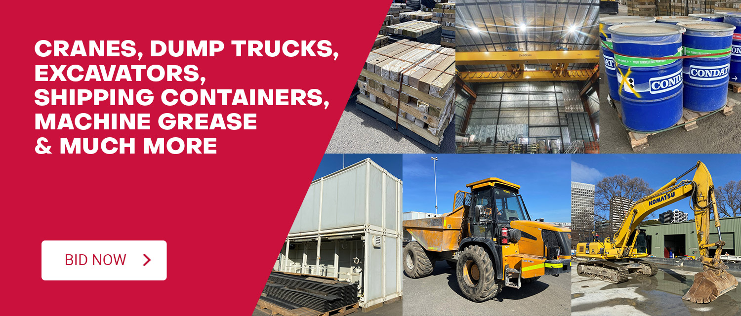 Cranes, Dump Trucks, Excavators, Shipping Containers, Machine Grease & Much More Construction Equipment