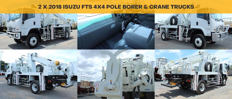 2 x 2018 Isuzu FTS 4x4 Pole Borer & Crane Trucks
