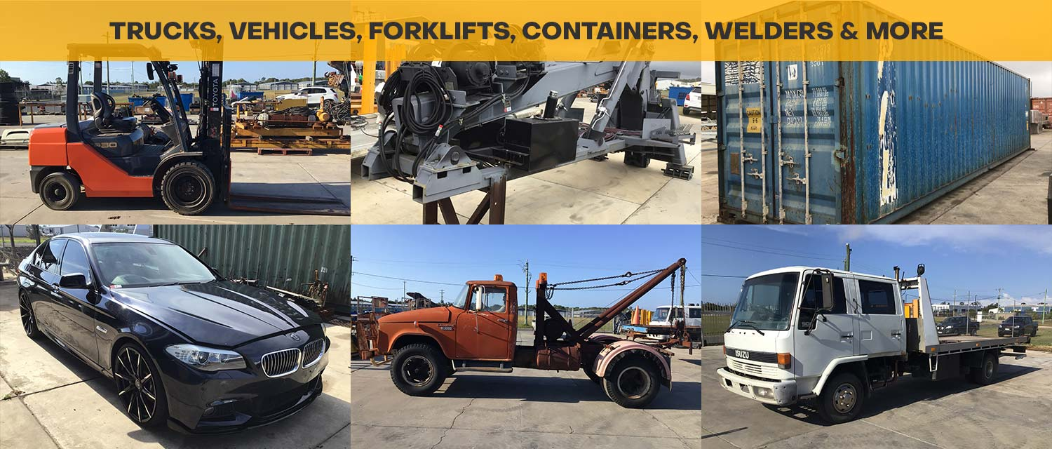 Trucks, Vehicles, Forklifts, Containers, Welders & More