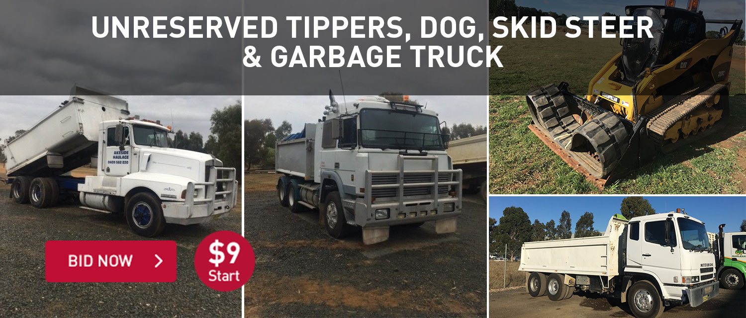 Unreserved Tippers, dog, skid steer and garbage truck