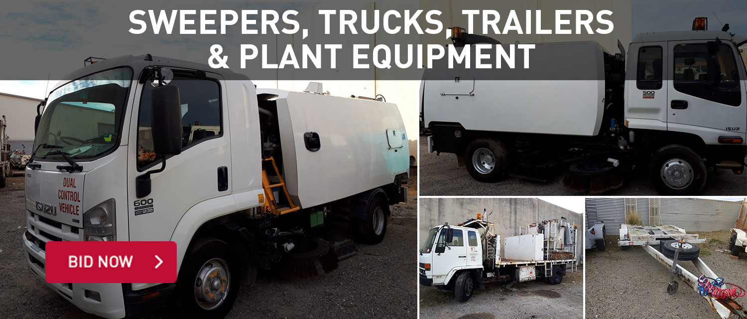 Sweepers, trucks, trailers and plant equipment