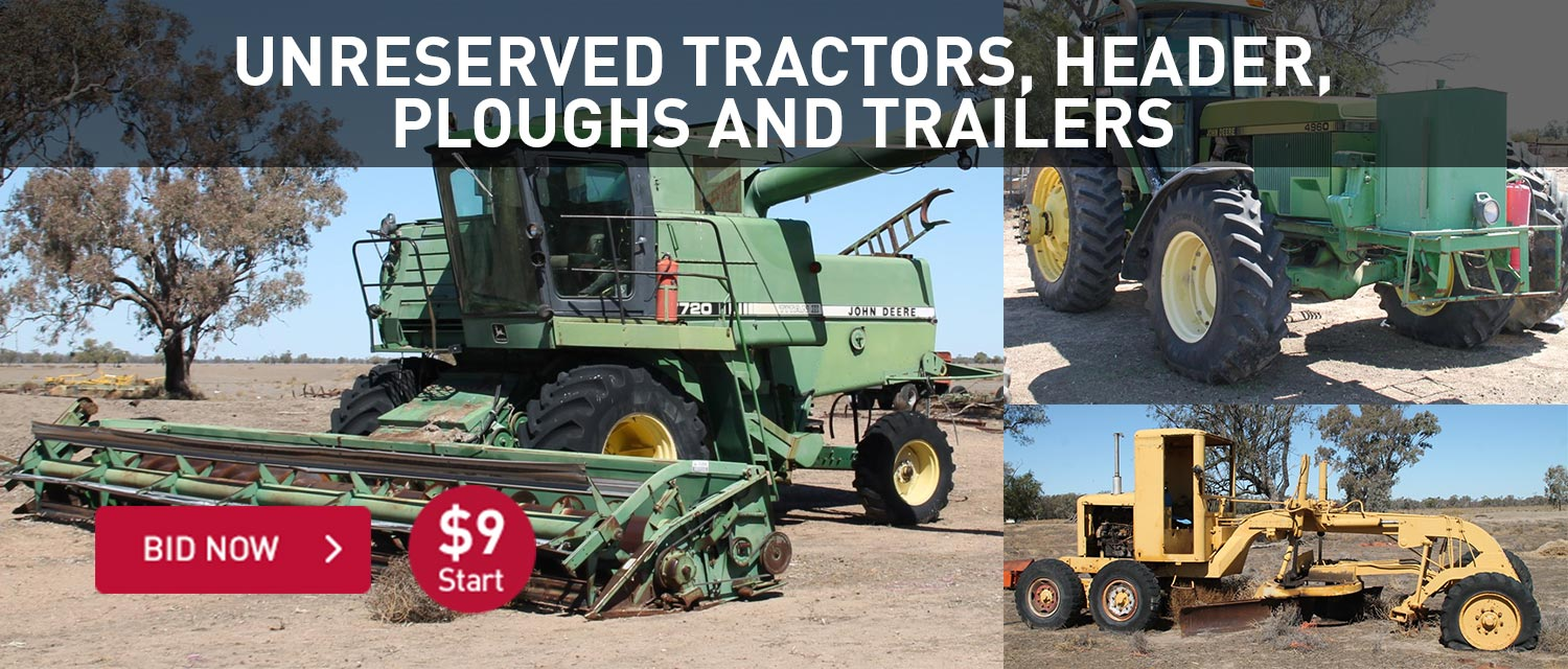 Unreserved tractors, header, ploughs and trailers