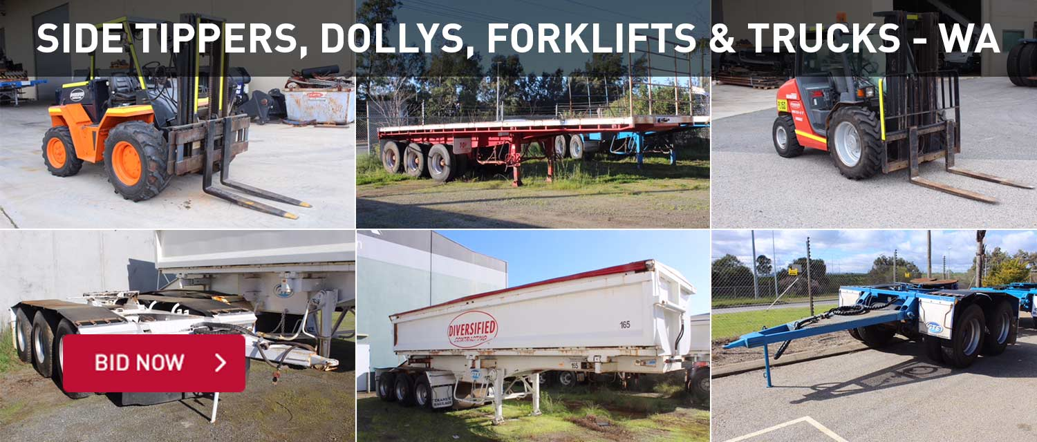 Side tippers, dollys, forklifts and trucks