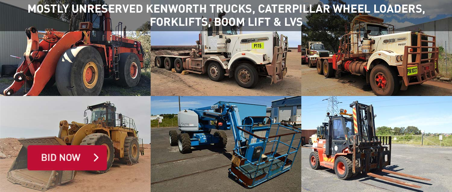 Mostly Unreserved Kenworth Trucks, Caterpillar Wheel Loaders, Forklifts, Boom Lift and LVs