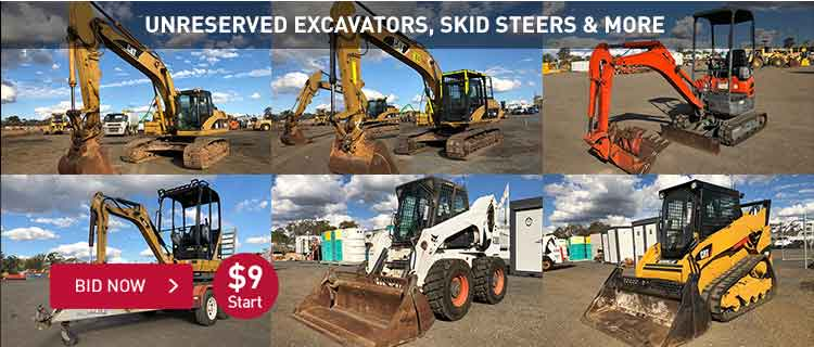 Unreserved Excavators, Skid Steers & More