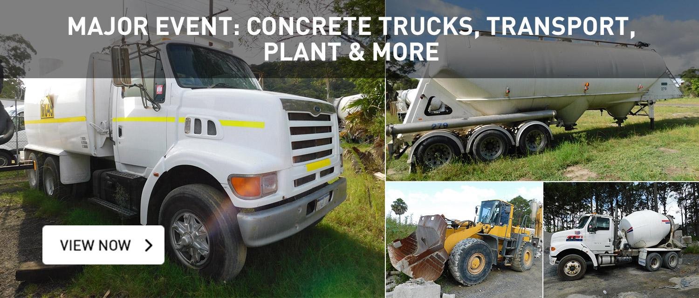 Major Event: Concrete Trucks, Transport, plant and more