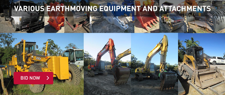 Various Earthmoving Equipment & Attachemnts