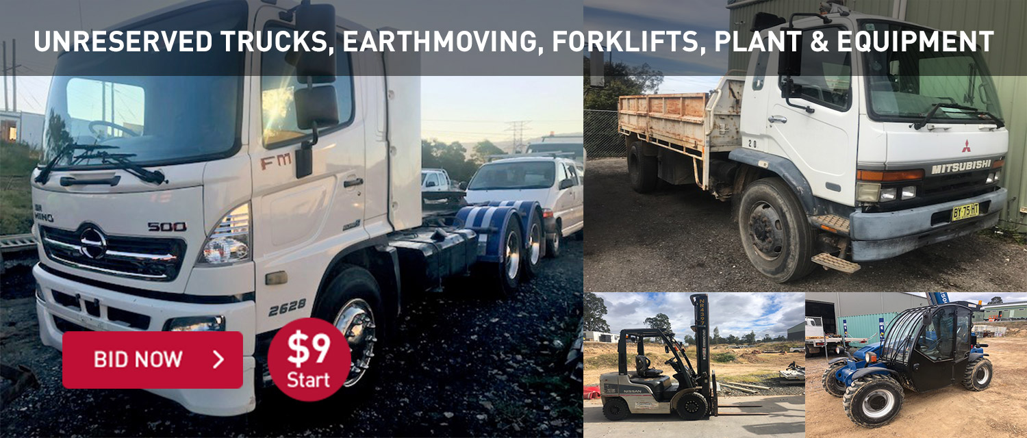 Unreserved trucks, earthmoving, forklifts, plant and equipment