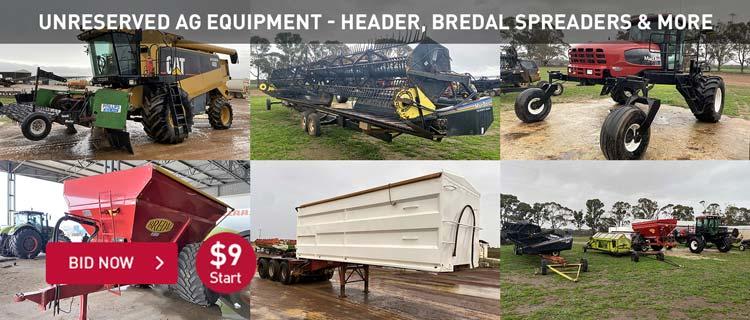 Unreserved Ag Equipment - Header, Bredal Spreaders & More