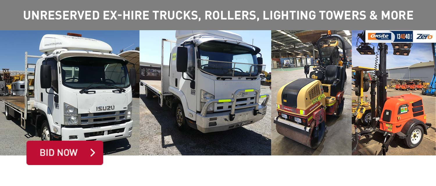 Unrserved Ex-Hire trucks, rollers, lighting towers and more