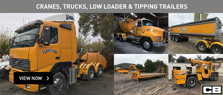 Excavator, Cranes, Trucks, Low Loader & Tipping Trailers