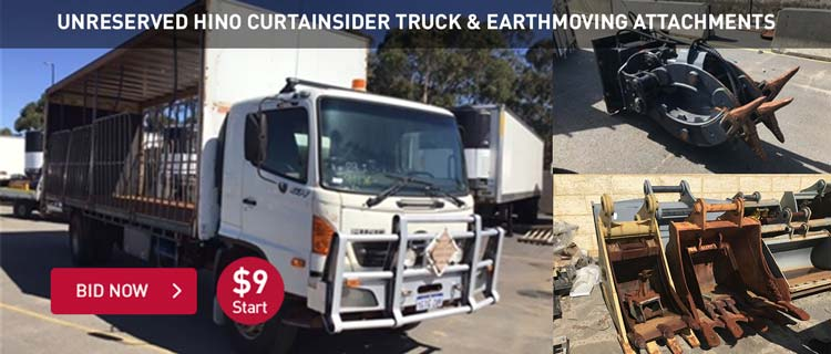 Unreserved Hino Curtainsider Truck & Earthmoving Attachments