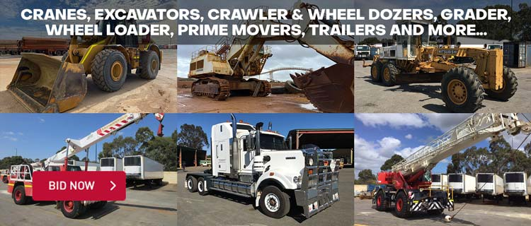 Cranes, Excavators, Crawler & Wheel Dozers, Grader, Wheel Loader, Prime Movers, Trailers and more