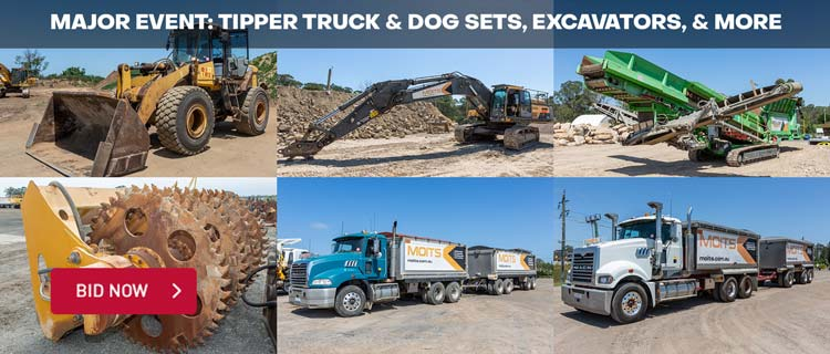Major Event: Tipper Truck & Dog Sets, Excavators, & More