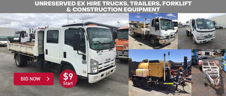 Unreserved Ex Hire Trucks, Trailers, Forklift & Construction Equipment