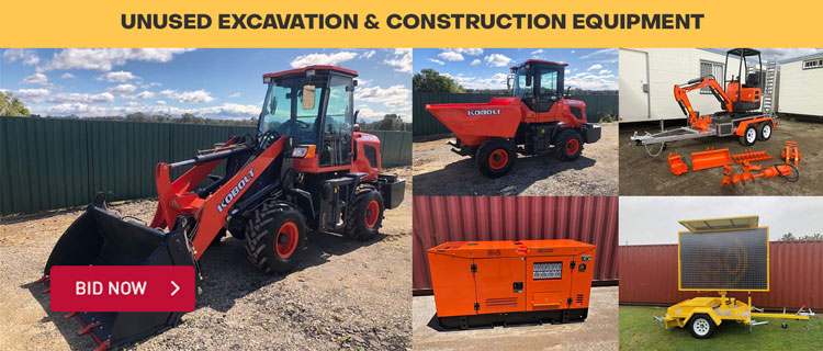 Unused Excavators, Generators, Skid Steer Attachments & More