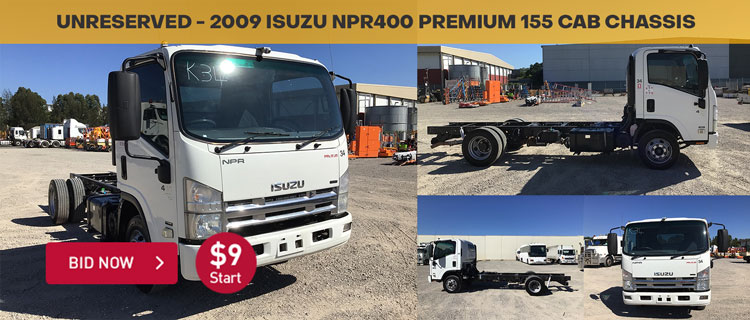 Unreserved - 2009 Isuzu NPR400 Premium 155 Cab Chassis