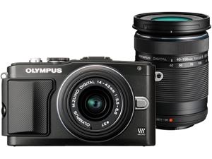 olympus pen lite e pl5 digital camera with 14 42mm 40 150mm lens black auction 0007 2098616. Black Bedroom Furniture Sets. Home Design Ideas