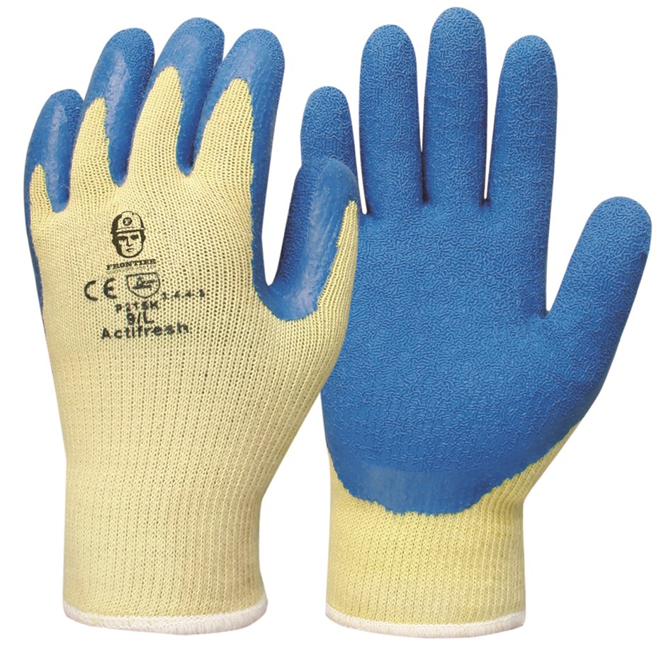 12 x Pairs Latex Coated Gloves, Size L, Kevlar Shell, Blue. Buyers Note - D