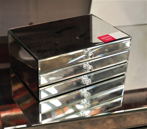 mirrored jewellery box bevelled mirror top sides and drawer fronts