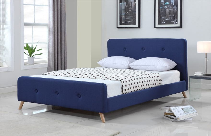 modern scandinavian queen size fabric bed frame blue
