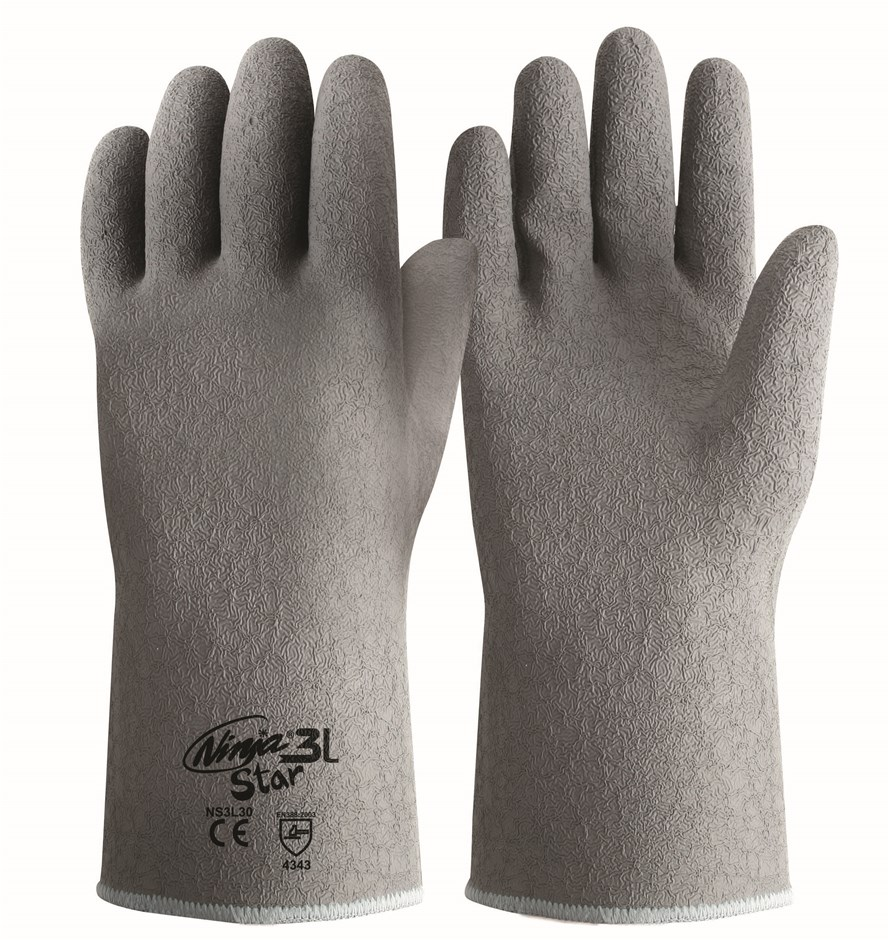 12 x Pairs NINJA Heavy Duty Gloves, Size M, Crinkled Latex, Cotton Lined. B