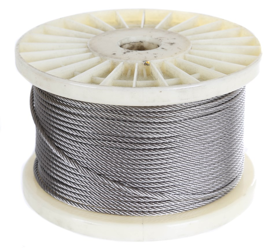 100M x Stainless Steel Wire Rope, 3.2mm Dia, Construction 7x7, Grade 316..