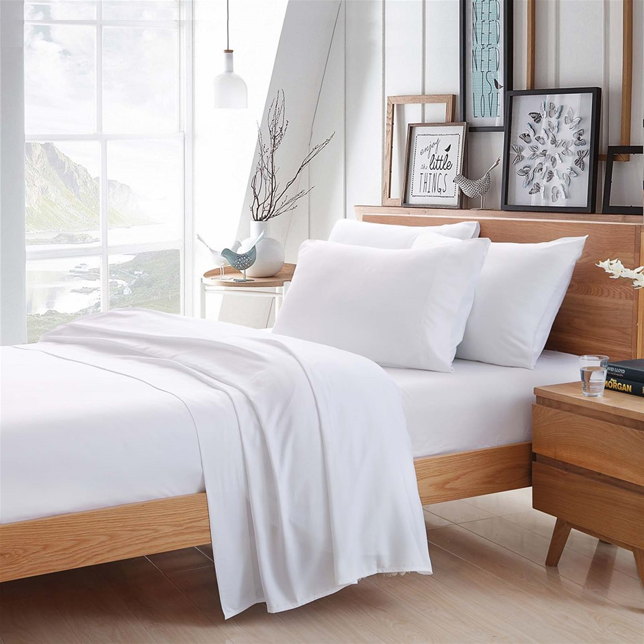 100% Bamboo Linen - Sheet Set 375 Thread Count White - KING