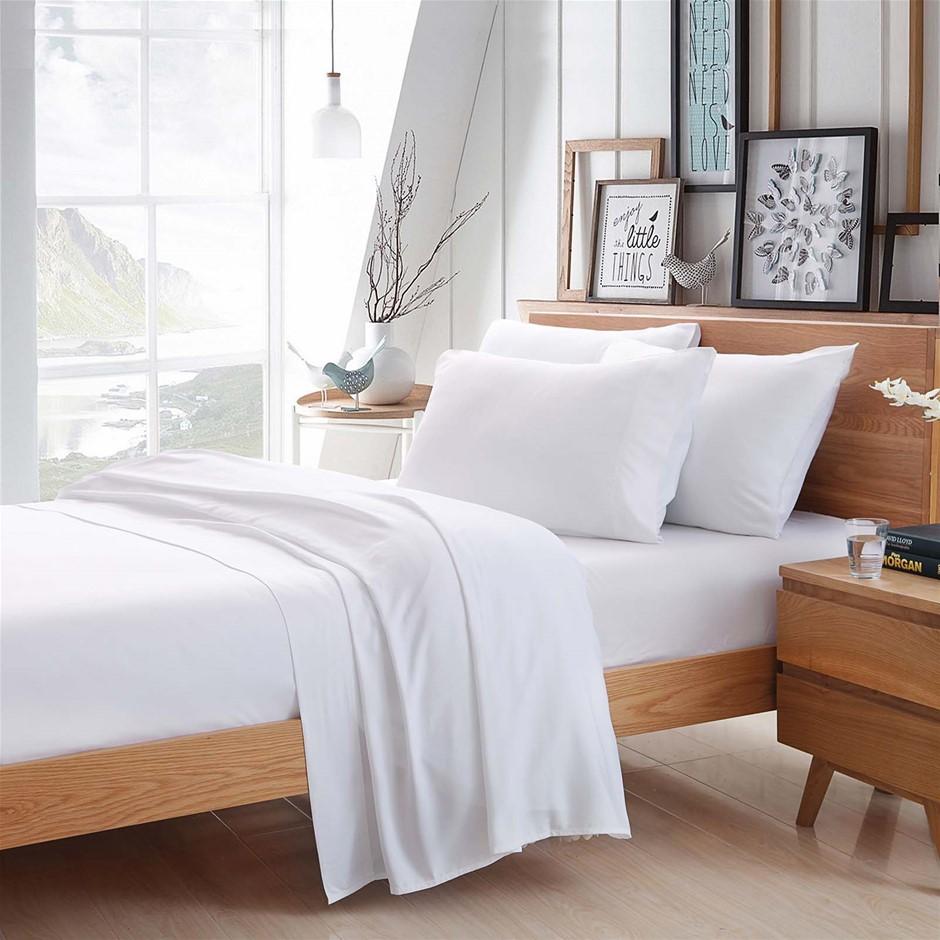 100% Bamboo Linen - Sheet Set 375 Thread Count White - QUEEN