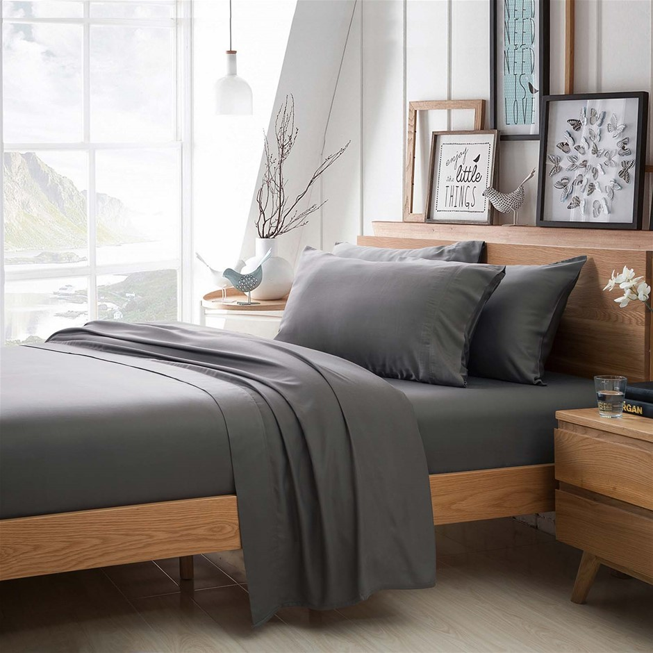 100% Bamboo Linen - Sheet Set 375 Thread Count Charcoal - QUEEN