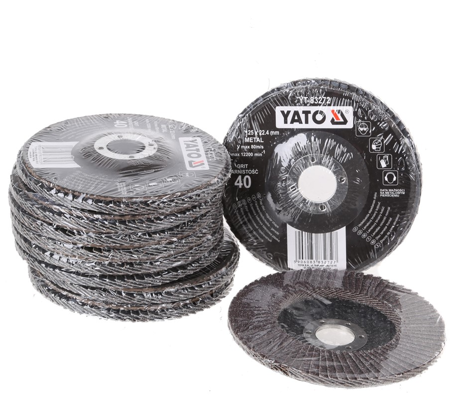 10 x YATO Flap Discs 125 x 22.4mm, Grit 40. Buyers Note - Discount Freight
