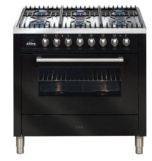 ILVE 90cm Stainless Steel Freestanding Cooker (Black) (HNFF906WMP/I)