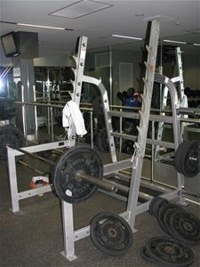 Hammer Strength Olympic Squat Rack, grey powder coated metal construction (
