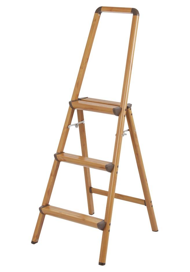 Aluminium Folding Step Ladder Capacity 150kg, Anodized Wood Colour Solid- R