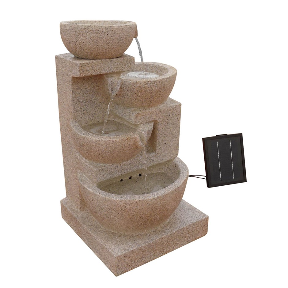 Gardeon 4 Tier Solar Powered Water Fountain with Light - Sand Beige