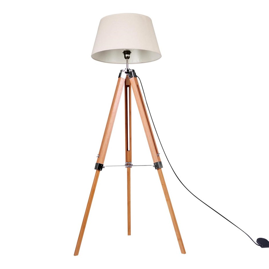 Wooden tripod floor lamp australia graysonline floor lamp wooden tripod beige linen shade bamboo brown aloadofball Choice Image