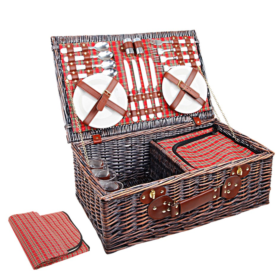 Alfresco 4 Person Picnic Basket with Cooler Bag - Red