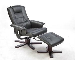 PU Leather Massage Chair Recliner Ottoma
