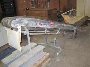 Mobile inclined product trough conveyor, rubber belt, mace shifta