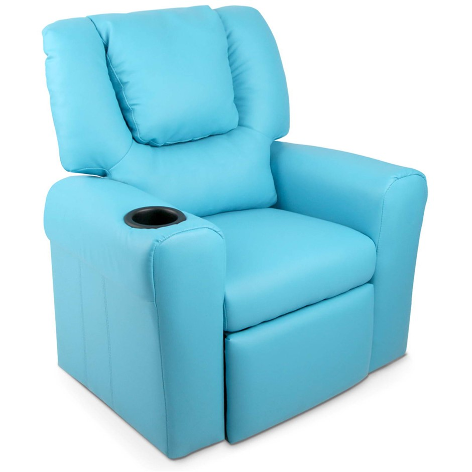 Artiss Kids PU Leather Reclining Armchair - Blue