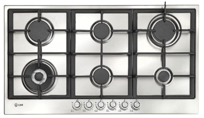 Ilve 90cm 6 Burners Stainless Steel Gas Cooktop (ILGP96X)