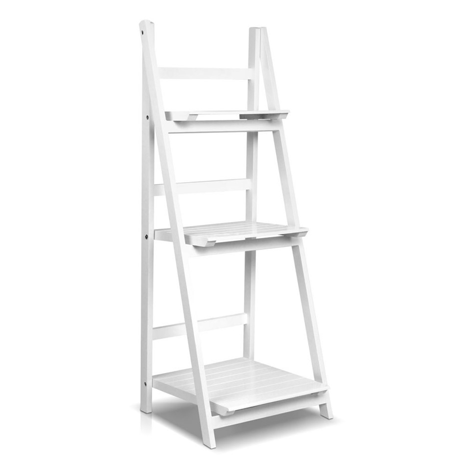 Artiss wooden ladder storage display shelf white