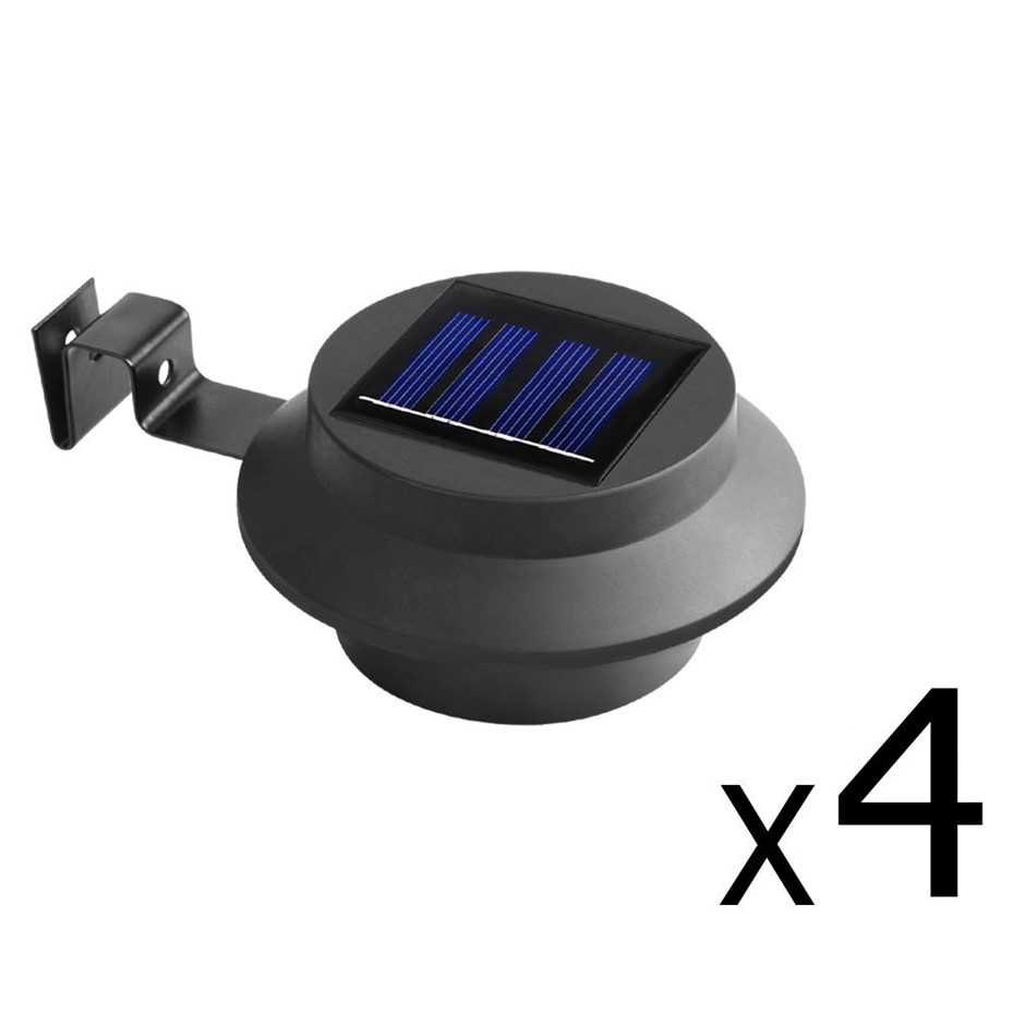 Set of 4 Solar Powered Sensor Lights - Black
