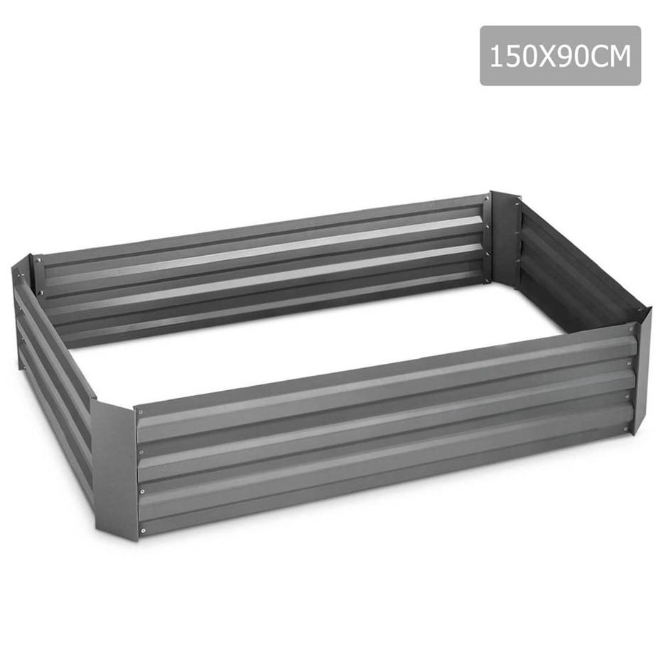 Green Fingers 150 x 90cm Galvanised Steel Garden Bed - Aliminium Grey