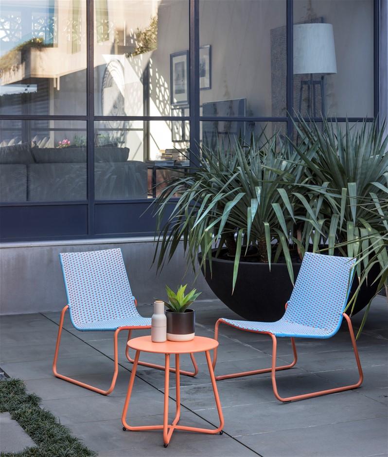 new excalibur balcony living belfort 3 piece steel chair set orange ebay. Black Bedroom Furniture Sets. Home Design Ideas