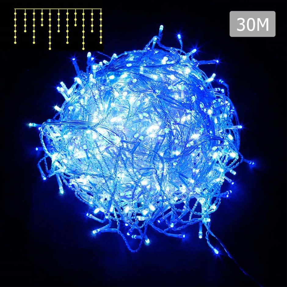 800 LED Christmas Icicle Light with 8 Function Controller Blue White